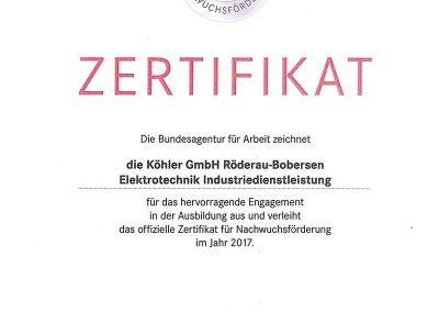 Urkunde Engagement Ausbildung 2017